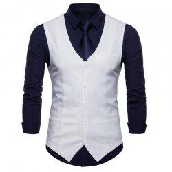 Plus Size Men Color Cotton Vest -