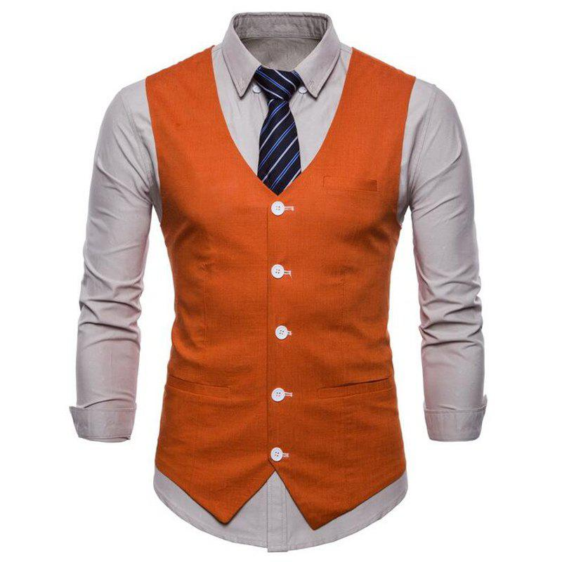 Outfit Plus Size Men Pure Color Cotton Suit Vest
