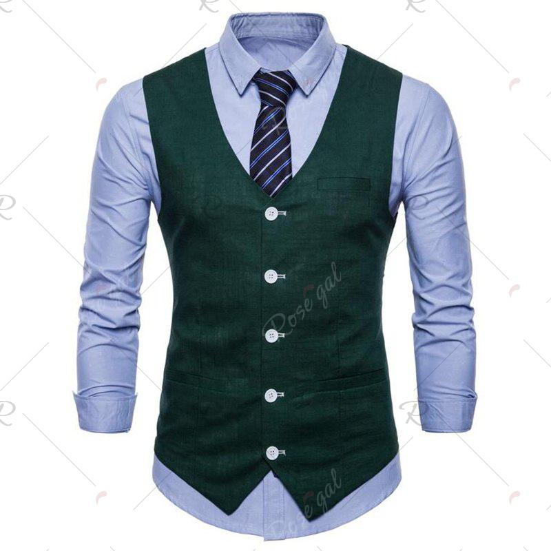 Buy Plus Size Men Pure Color Cotton Suit Vest