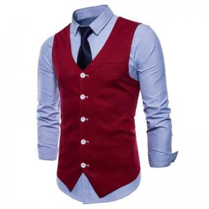Men Pure Color Slim Fit Cotton Suit Vest -