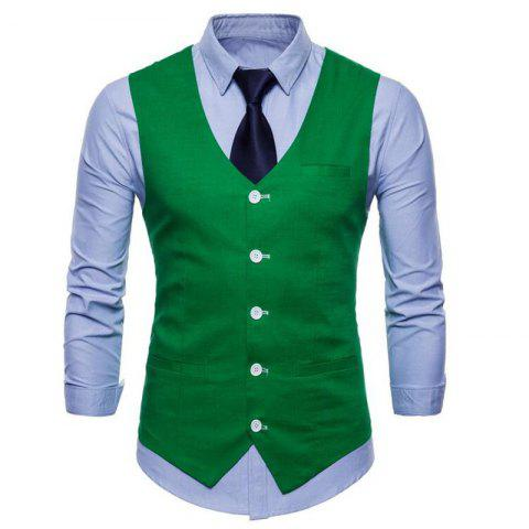 Fashion Men Pure Color Slim Fit Cotton Suit Vest