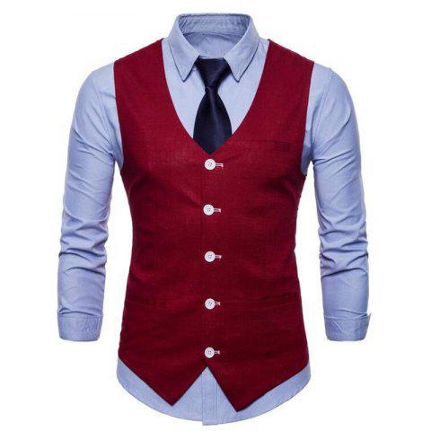Unique Men Pure Color Slim Fit Cotton Suit Vest