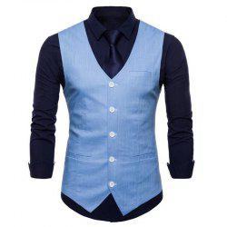 Plus Size Men Pure Color Slim Fit Cotton Suit Vest -