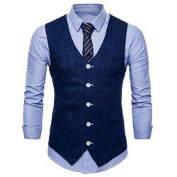 Plus Size Men Color Slim Fit Coton Suit Vest -