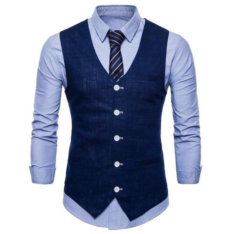 Plus Size Men Color Slim Fit Coton Suit Vest