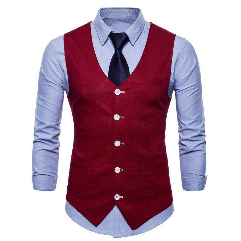 Outfits Plus Size Men Pure Color Slim Fit Cotton Suit Vest
