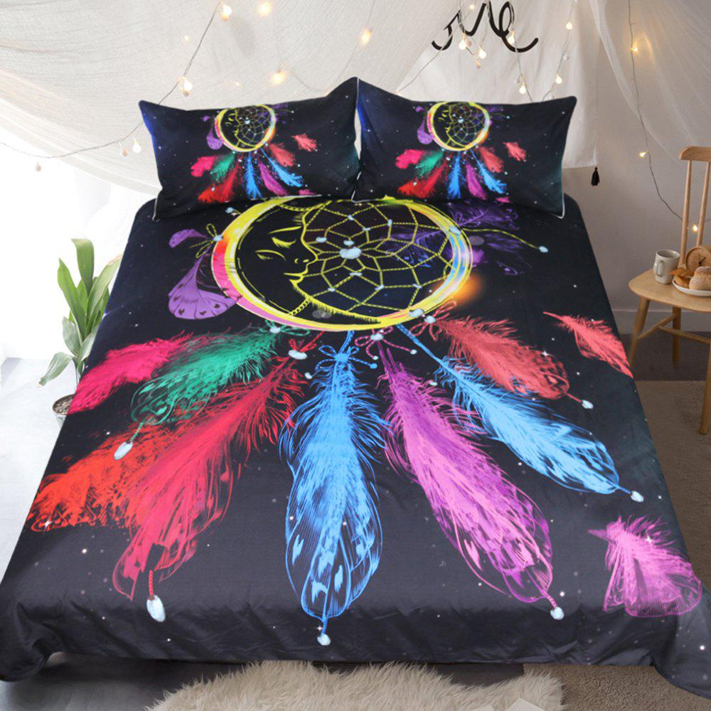 Dreamcatcher Literie plumes colorées Housse de couette Set Digital Print 3pcs