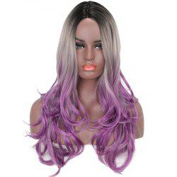 Women Long Wavy Black Gray Purple Ombre High Tempreture Synthetic Hair Wigs -