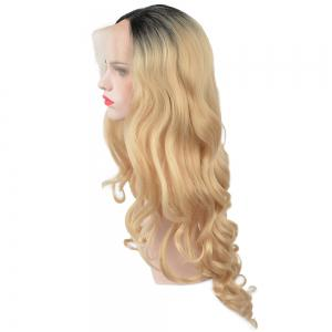 Glueless Synthétique Blonde Ombre Lace Front Long Wavy Perruques Femmes Afro-Américaines -