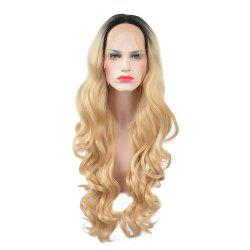 Glueless Synthetic Blonde Ombre Lace Front Long Wavy Wigs African American Women -