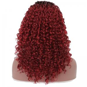 Synthetic Hair Dark Root Ombre Black Red Afro Curly Long Wig Natural Hairline -