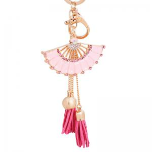 Fashion Girl Bag Pendant Fan Shape Tassels Key Chain Car Ornaments -