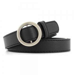 Simple Boucle ronde en cuir fin Ladies Wild Belt -