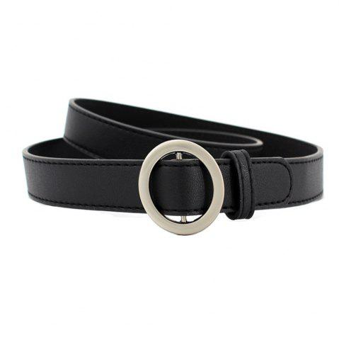 Simple Boucle ronde en cuir fin Ladies Wild Belt