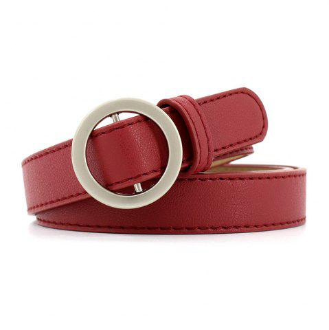 Outfits Simple Round Buckle Fine Leather Ladies Wild Belt