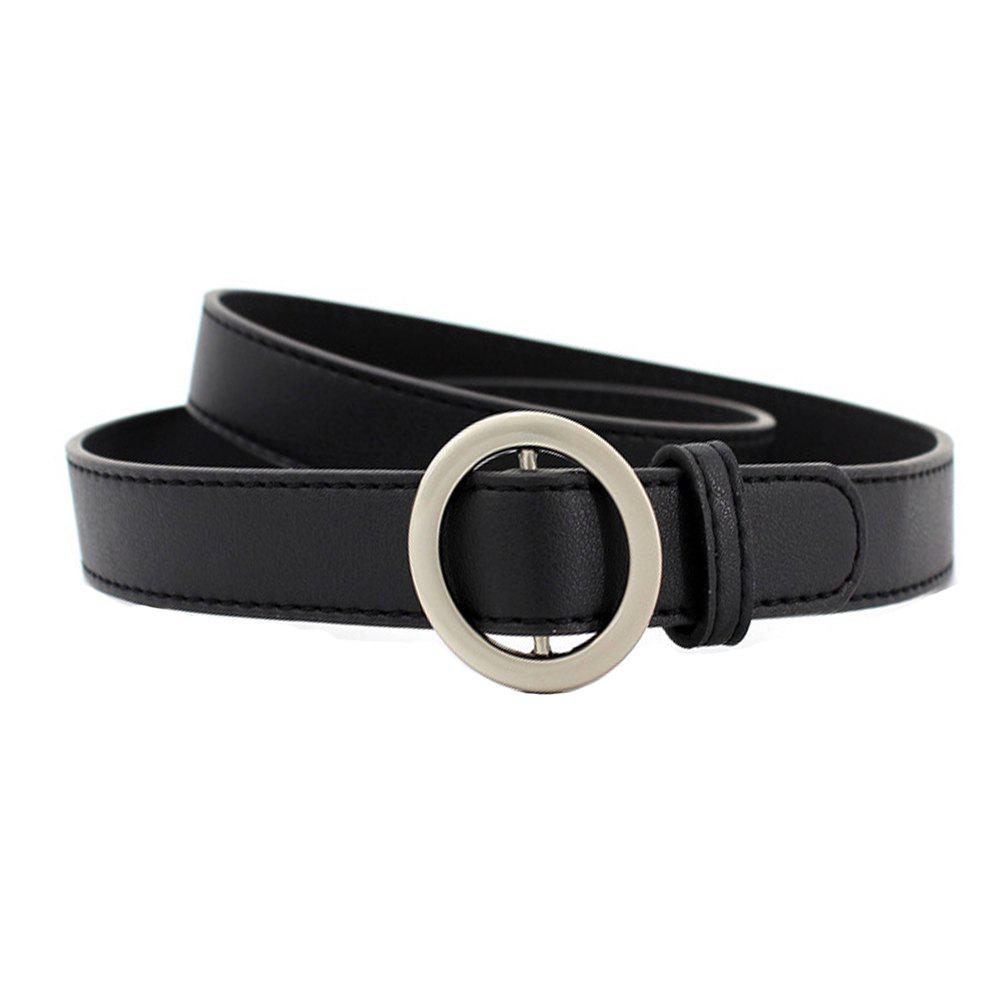 Discount Simple Round Buckle Fine Leather Ladies Wild Belt