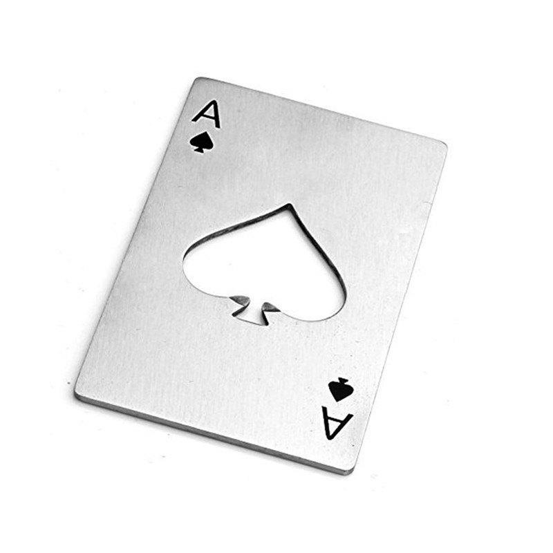 New Silver Creative Playing Cards Spades A Shape Stainless Steel Bottle Opener