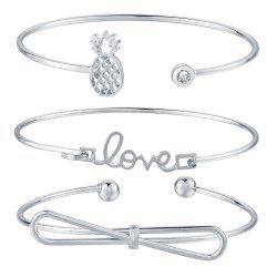 3PCS New Letter Bow Pineapple Opening Bracelet -