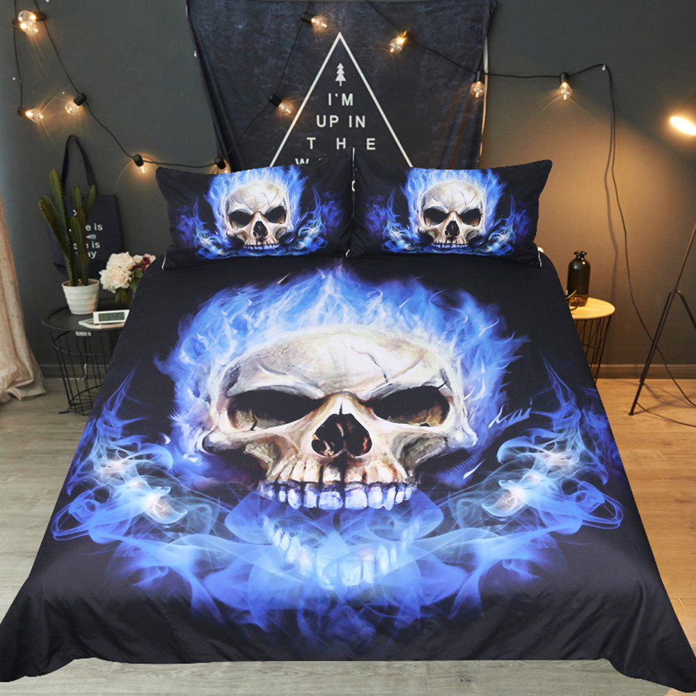 Fashion Blue Flame Bedding Duvet Cover Set Digital Print 3pcs