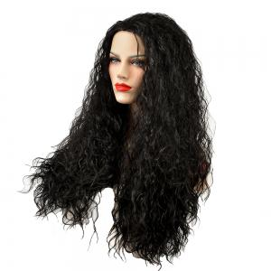 African American Women Black Fluffy Curly Long Synthetic Hair Party Wig -