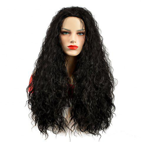 Online African American Women Black Fluffy Curly Long Synthetic Hair Party Wig