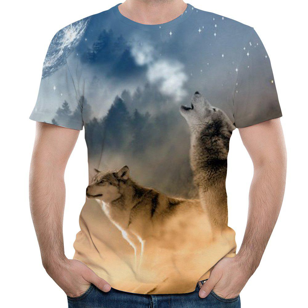 Unique 2018 Summer New Wolf Men's 3D Printed Short-Sleeved T-shirt