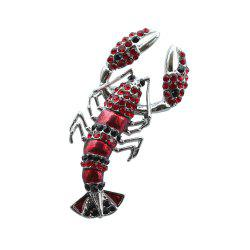 PULATU Red Crystal Lobster Brooch Gift for Girlfriend -
