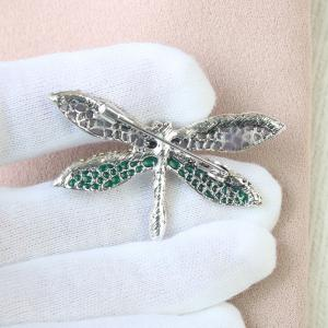 PULATU Crystal Rhinestone Dragonfly Brooch for Women -