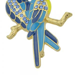 Lovely Blue Rhinestone Two Couple Birds Shape Brooch Pin -