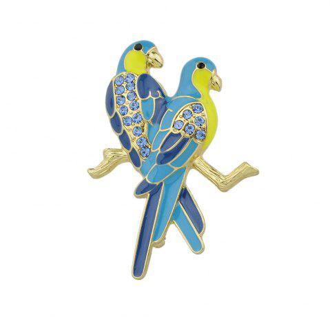 Fashion Lovely Blue Rhinestone Two Couple Birds Shape Brooch Pin