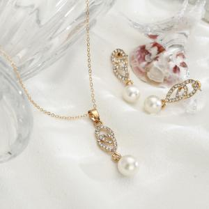New Style Simple Combination of Diamond Necklace Earrings -
