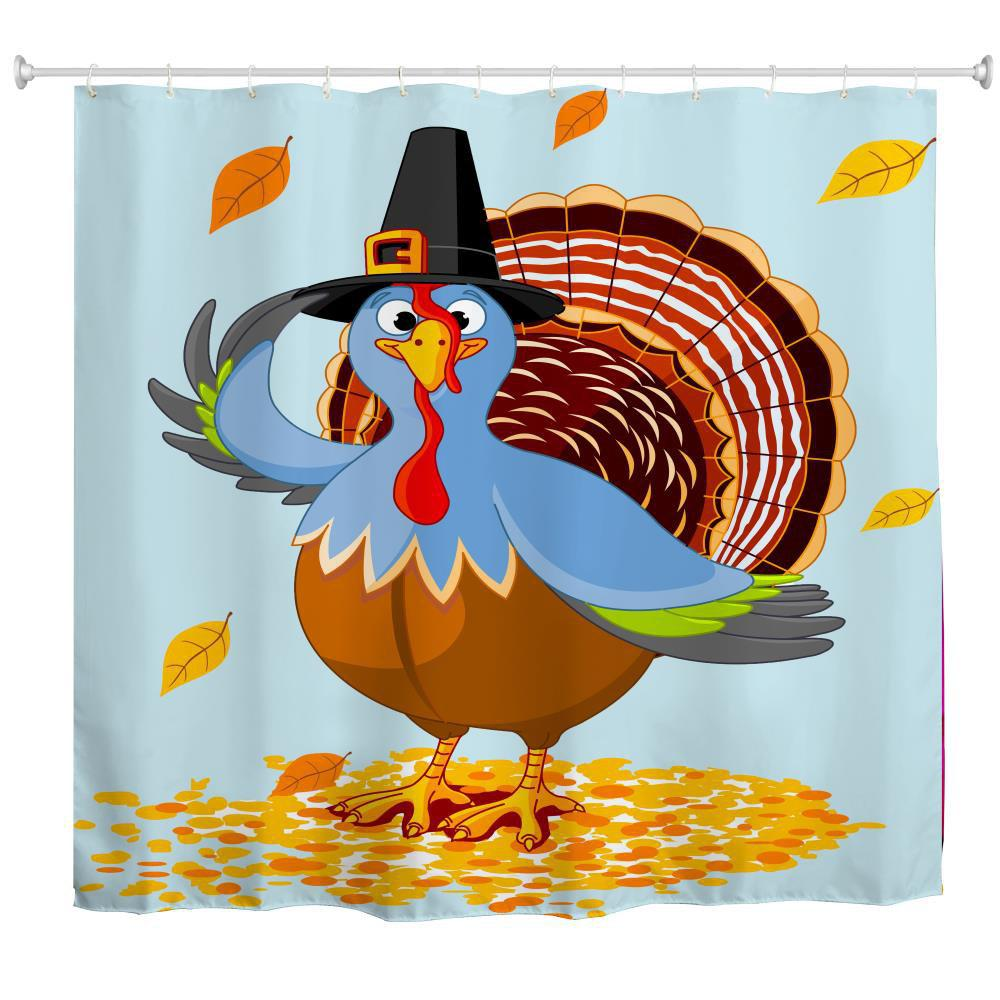 Sale Hat Turkey Water Proof Polyester 3D Printing Bathroom Shower Curtain