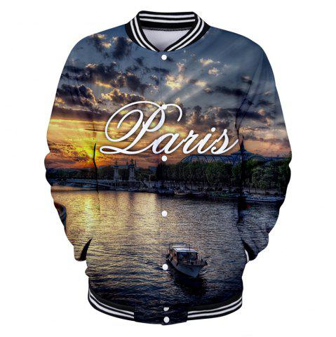 Chic 2018 New The Scenery of Paris Printed 3D Baseball Jacket