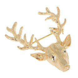 Unisex Popular Cute Gold Deer Antlers Head Pin Brooches Styling Jewelry -