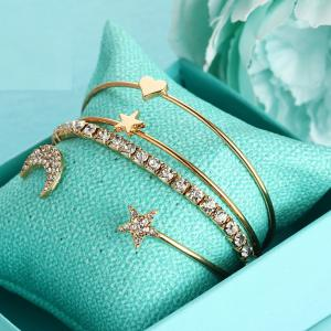 4PCS Simple Diamant Diamant Ouverture Bracelet -