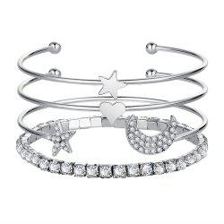 4PCS Simple Diamond Crystal Star Opening Bracelet -