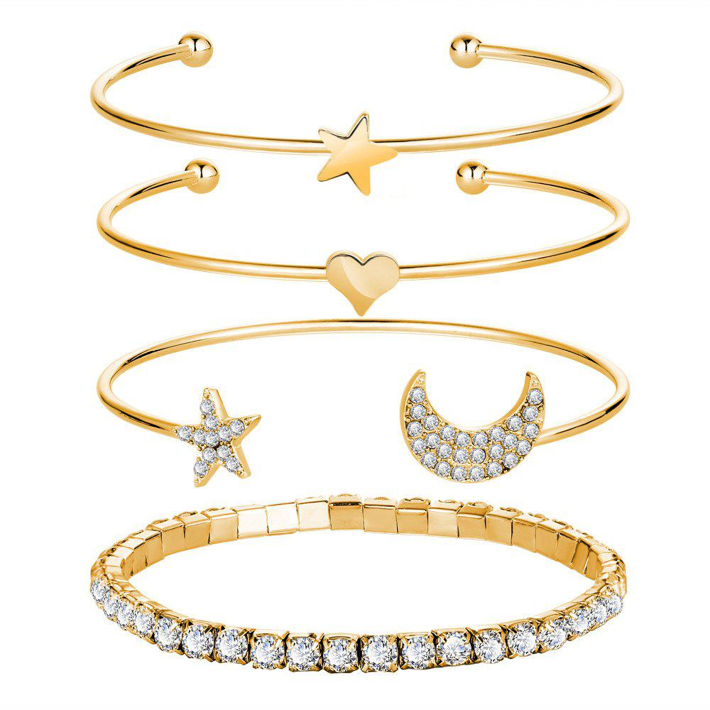 4PCS Simple Diamant Diamant Ouverture Bracelet