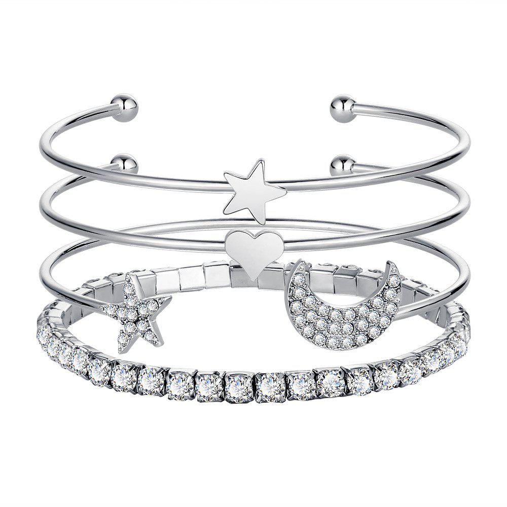 Shop 4PCS Simple Diamond Crystal Star Opening Bracelet