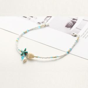 Conch Starfish Pendant Rice Bead Anklet -