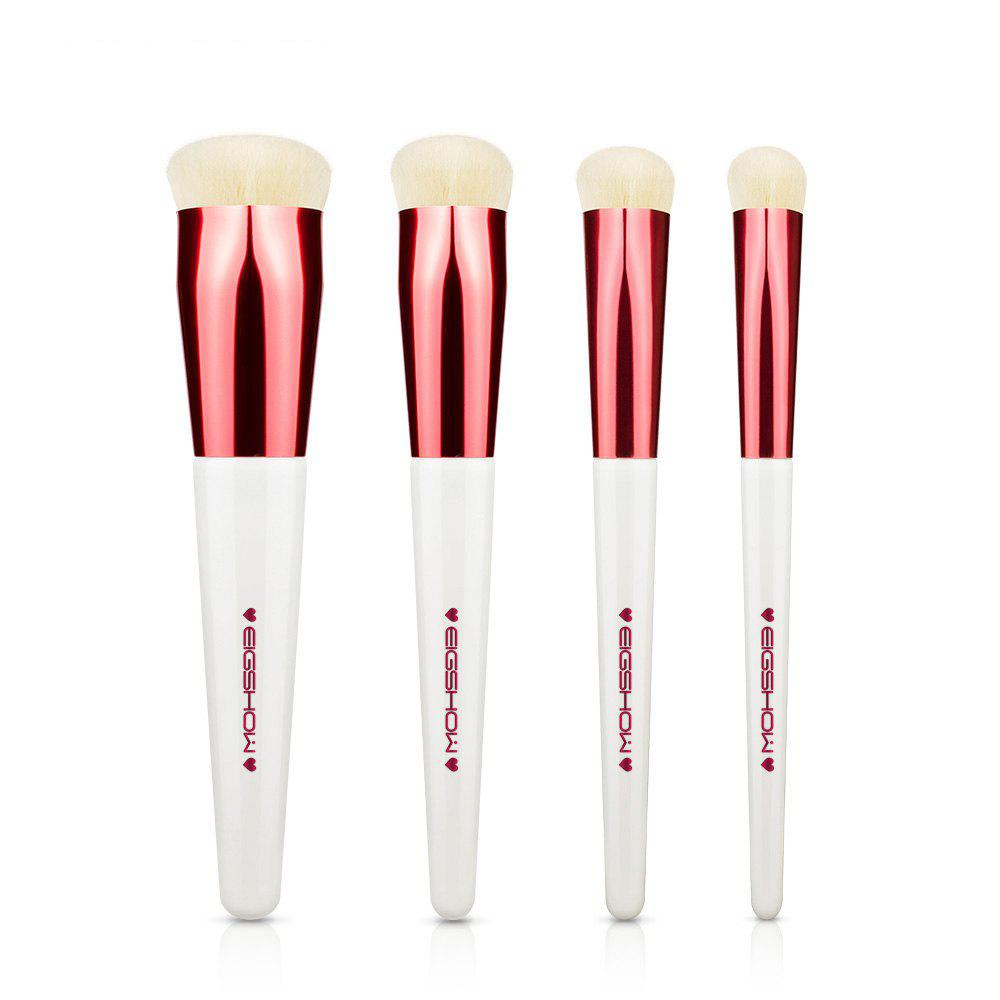 Trendy EIGSHOW 4PCS Makeup Set Heart Shape Foundation Brush Comestic Kit White Rose