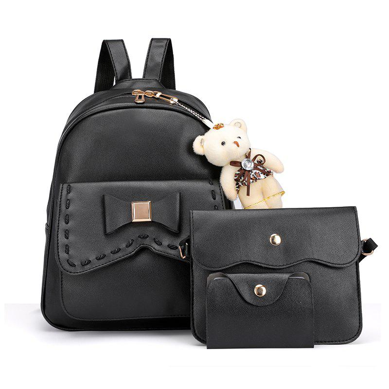 Outfit Girl PU 3Pcs Bowknot Backpack