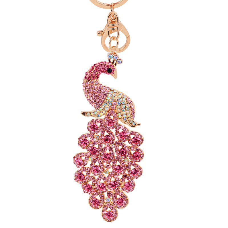 Unique Peacock Keychain Crystal Handbag Charm for Feather Fans Key Ring