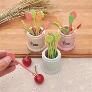 Ensemble de fourchettes de fruits miniatures en fibre de blé portative -