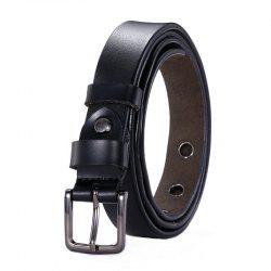Fashion Square Buckle Hollow Leather Belt -