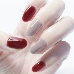24PCS Wine Red Ash Jumped Round Pure Head False Nails -