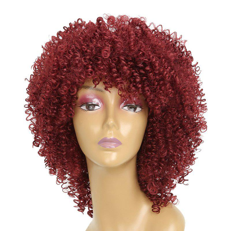 Trendy Wine Red Small Curly Fluffy Best Synthetic Short Hair Afro Wig for Fashion Girl