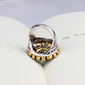 PULATU Mosaic Colored Resin Crystal Carved Ring for Women -