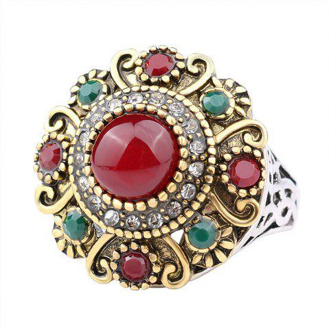 Affordable PULATU Mosaic Colored Resin Crystal Carved Ring for Women