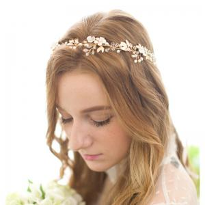Gold Leaf Vine Bridal Headpiece Boho Crystal Pearl Wedding Wreath Women -