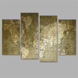 Old World Map Frameless Printed Canvas Wall Art Paintings 4PCS -